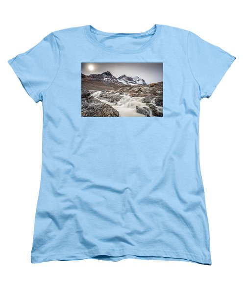 Women's T-Shirt (Standard Cut) featuring the photograph Silky Melt Water Of Athabasca Glacier by Pierre Leclerc Photography