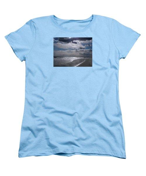 Women's T-Shirt (Standard Cut) featuring the photograph Silver Linings Trim The Sea by Lynda Lehmann