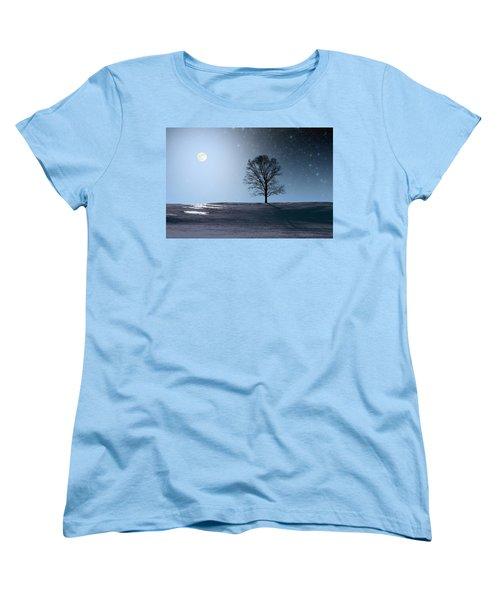 Single Tree In Moonlight Women's T-Shirt (Standard Cut) by Larry Landolfi