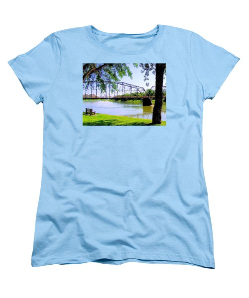 Women's T-Shirt (Standard Cut) featuring the photograph Sitting In Fort Benton by Susan Kinney