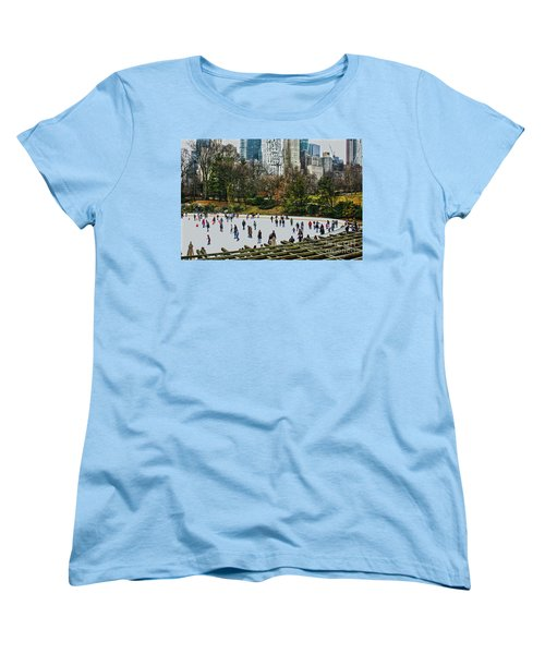 Women's T-Shirt (Standard Cut) featuring the photograph Skating At Central Park by Sandy Moulder