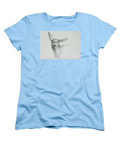 Sketch Of A Mule Deer Doe Women's T-Shirt (Standard Cut) by Dawn Senior-Trask