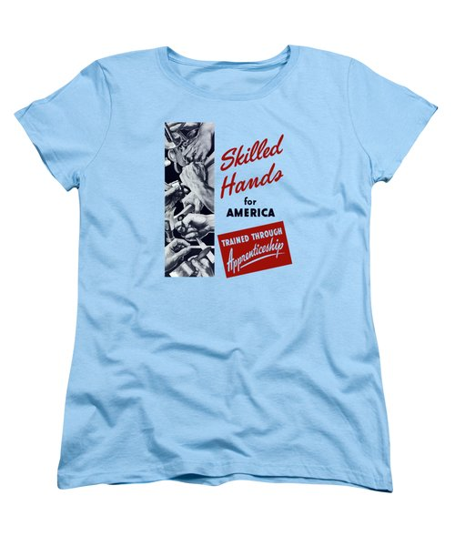 Women's T-Shirt (Standard Cut) featuring the mixed media Skilled Hands For America by War Is Hell Store