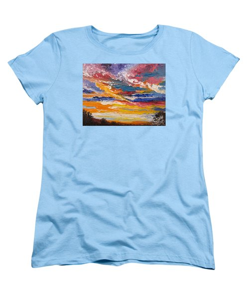 Women's T-Shirt (Standard Cut) featuring the painting Sky In The Morning by Sigrid Tune