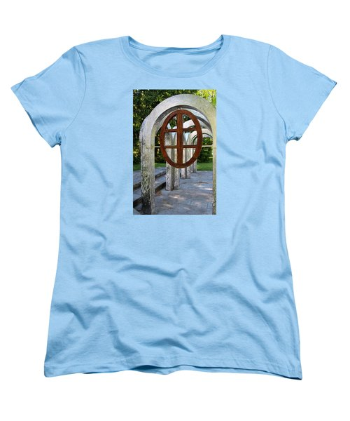 Women's T-Shirt (Standard Cut) featuring the photograph Small Park With Arches by Michiale Schneider