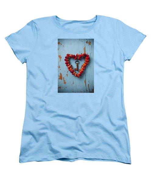 Small Rose Heart Wreath With Key Women's T-Shirt (Standard Cut) by Garry Gay
