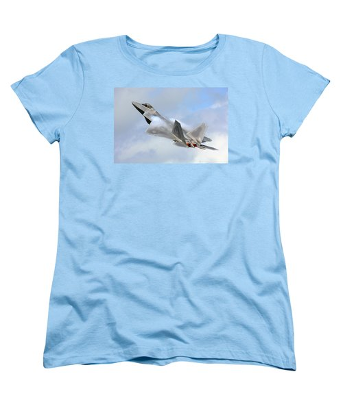 Women's T-Shirt (Standard Cut) featuring the digital art Smokin - F22 Raptor On The Go by Pat Speirs