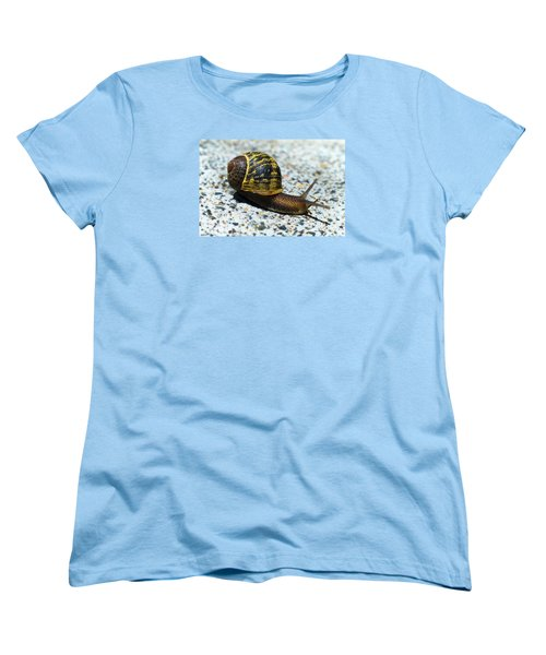 Women's T-Shirt (Standard Cut) featuring the photograph Snailing Alone 01 by Kevin Chippindall
