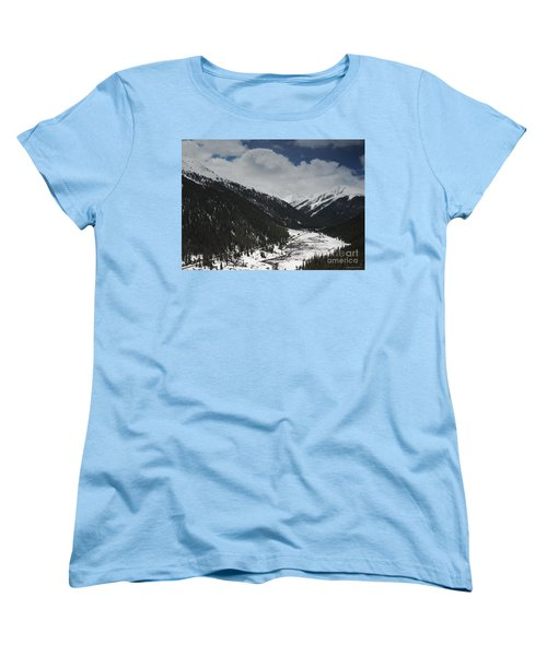 Snow At Independence Pass Colorado Highway 82 Women's T-Shirt (Standard Cut) by Nature Scapes Fine Art