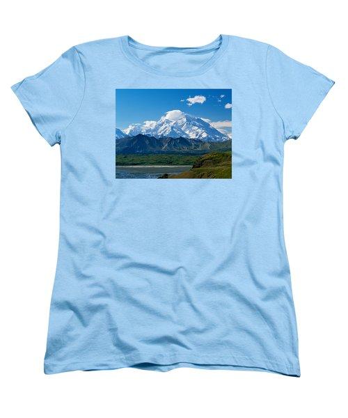 Snow-covered Mount Mckinley, Blue Sky Women's T-Shirt (Standard Fit)