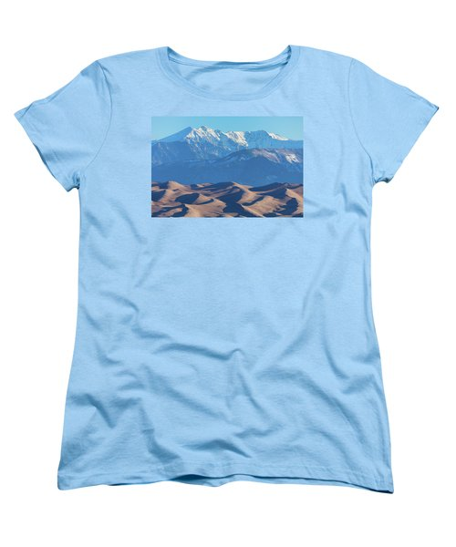 Snow Covered Rocky Mountain Peaks With Sand Dunes Women's T-Shirt (Standard Cut) by James BO Insogna