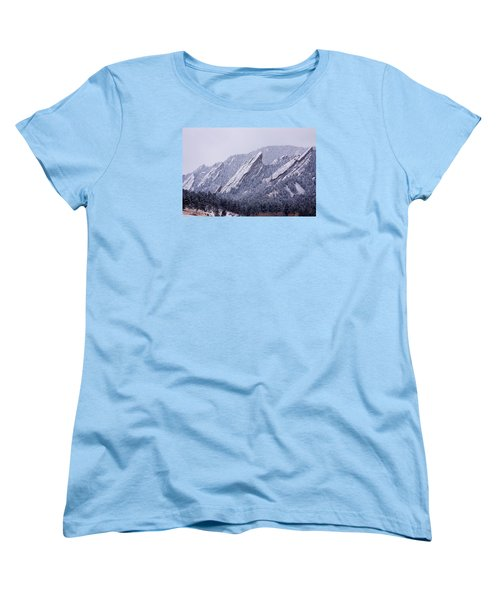 Snow Dusted Flatirons Boulder Colorado Women's T-Shirt (Standard Cut) by James BO  Insogna