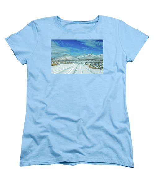 Women's T-Shirt (Standard Cut) featuring the photograph Snow In Death Valley by Peter Tellone