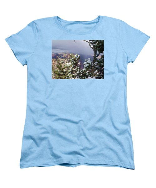 Women's T-Shirt (Standard Cut) featuring the photograph Snow In The Canyon by Roberta Byram