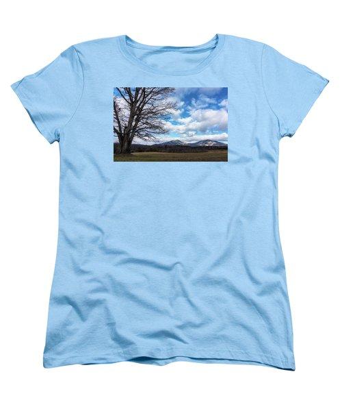 Snow In The High Mountains Women's T-Shirt (Standard Cut) by Steve Hurt