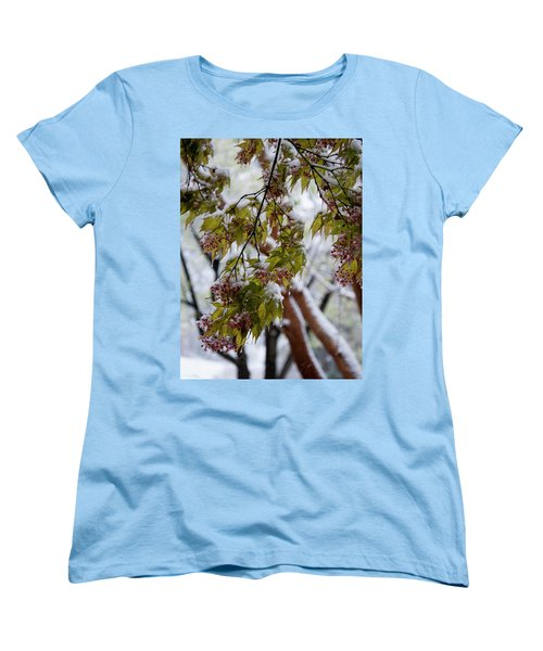 snow on the Cherry blossoms Women's T-Shirt (Standard Cut) by Chris Flees