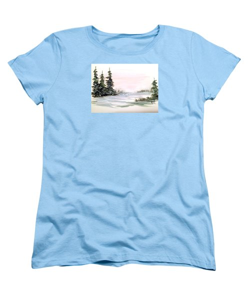 Women's T-Shirt (Standard Cut) featuring the painting Snow Over The Pasture by Dorothy Maier