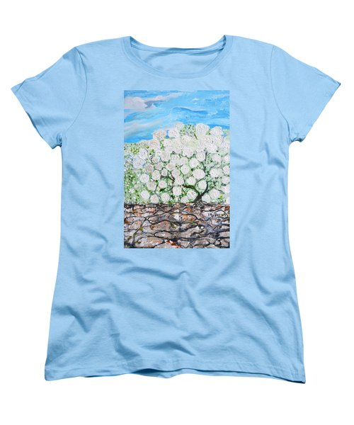 Women's T-Shirt (Standard Cut) featuring the painting Snowballs Flowers by Evelina Popilian