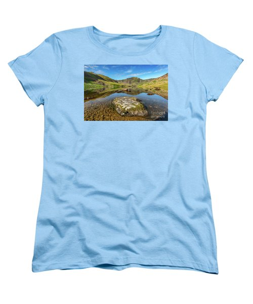 Women's T-Shirt (Standard Cut) featuring the photograph Snowdonia Mountain Reflections by Adrian Evans