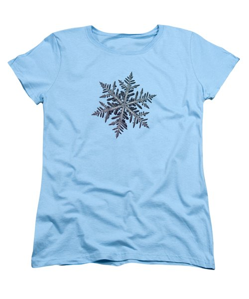 Women's T-Shirt (Standard Cut) featuring the photograph Snowflake Photo - Neon by Alexey Kljatov