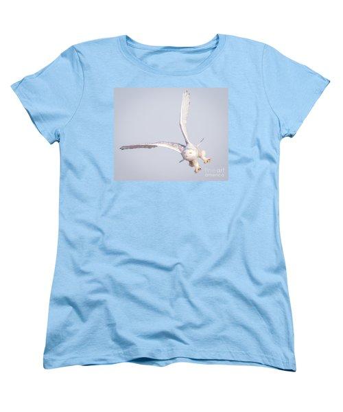 Snowy Owl Flying Dirty Women's T-Shirt (Standard Cut) by Ricky L Jones