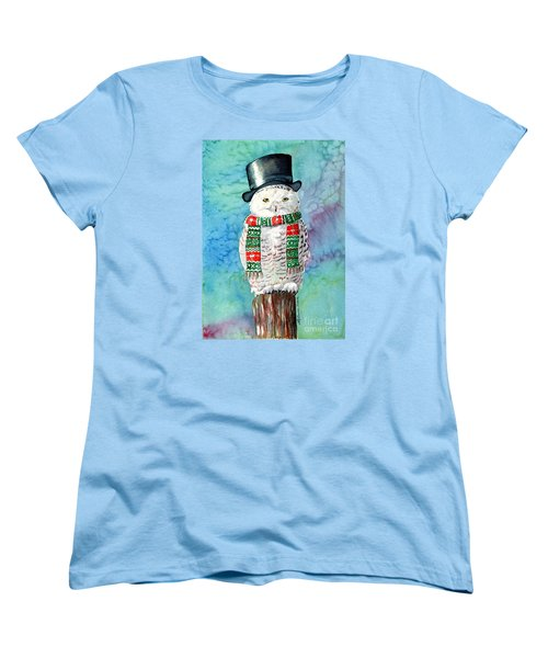 Women's T-Shirt (Standard Cut) featuring the painting Snowman Owl by LeAnne Sowa