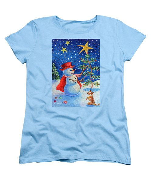 Women's T-Shirt (Standard Cut) featuring the painting Snowmas Christmas by Li Newton