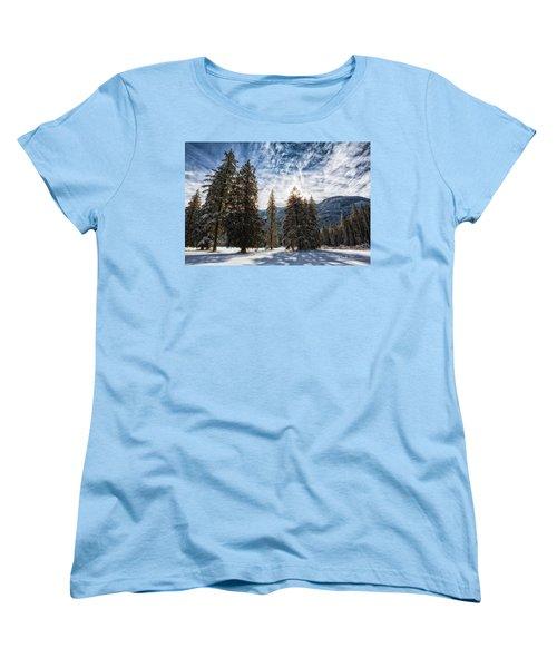 Snowy Clouds Women's T-Shirt (Standard Cut) by Charlie Duncan