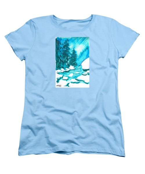 Women's T-Shirt (Standard Cut) featuring the mixed media Snowy Creek Banks by Seth Weaver
