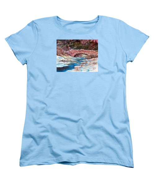 Women's T-Shirt (Standard Cut) featuring the painting Snowy Creek by Jim Phillips