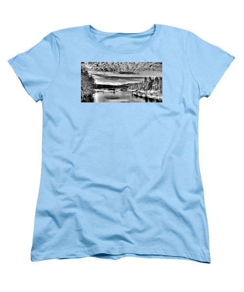Snowy Day At The Green Bridge Women's T-Shirt (Standard Cut) by David Patterson