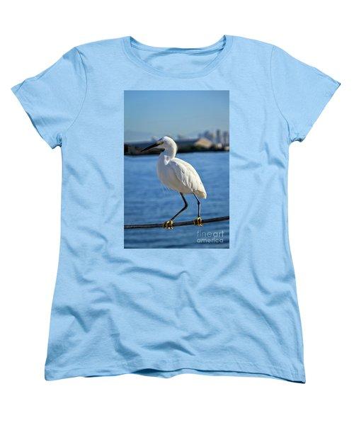 Women's T-Shirt (Standard Cut) featuring the photograph Snowy Egret Portrait by Robert Bales