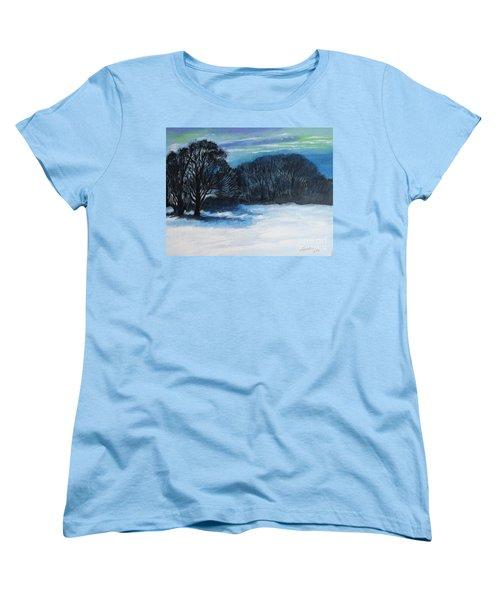 Snowy Moonlight Night Women's T-Shirt (Standard Cut)