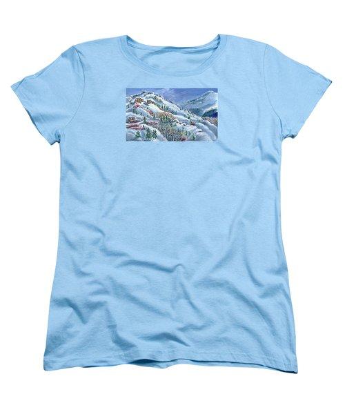 Snowy Mountain Road Women's T-Shirt (Standard Cut) by Dawn Senior-Trask