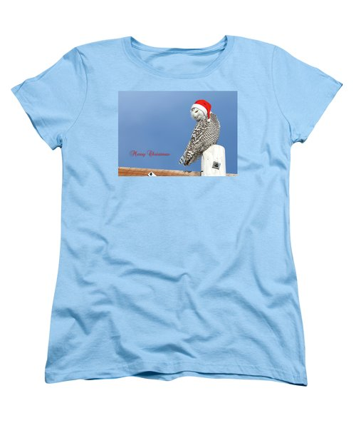 Women's T-Shirt (Standard Cut) featuring the photograph Snowy Owl Christmas Card by Everet Regal