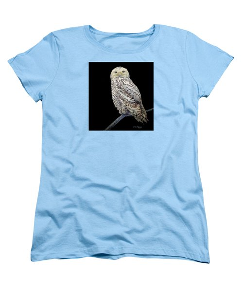 Snowy Owl On Black Women's T-Shirt (Standard Cut) by Constantine Gregory