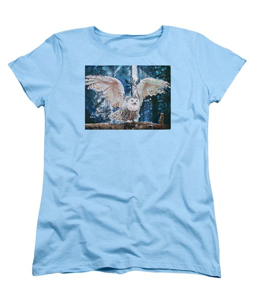 Women's T-Shirt (Standard Cut) featuring the painting Snowy Owl On Takeoff  by Sharon Duguay