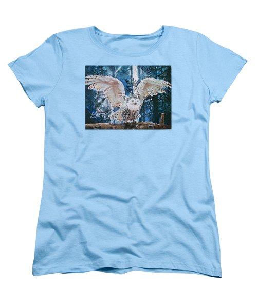 Snowy Owl On Takeoff  Women's T-Shirt (Standard Cut) by Sharon Duguay