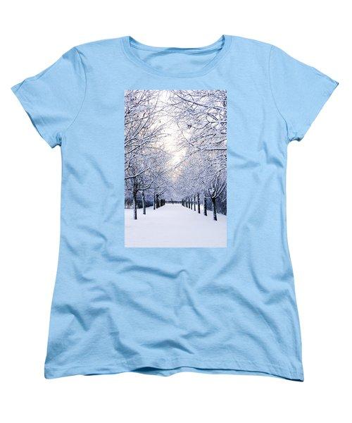 Snowy Pathway Women's T-Shirt (Standard Cut) by Marius Sipa