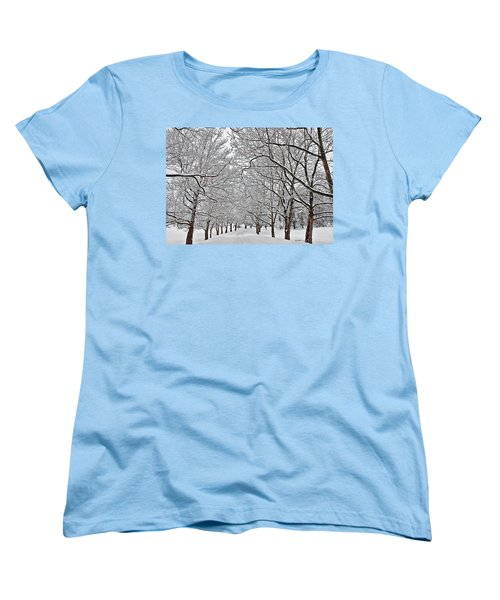Women's T-Shirt (Standard Cut) featuring the photograph Snowy Treeline by Aimee L Maher Photography and Art Visit ALMGallerydotcom