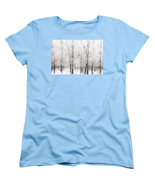 Women's T-Shirt (Standard Cut) featuring the photograph Snowy Trees Abstract by Benanne Stiens