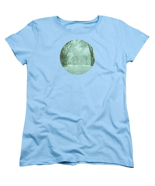 Snowy Winter Night Women's T-Shirt (Standard Cut) by Mary Wolf