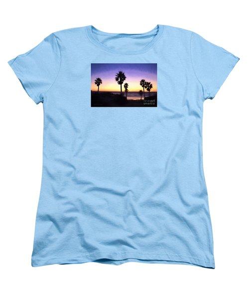 Solana Beach Sunset - Digital Painting Women's T-Shirt (Standard Cut) by Sharon Soberon