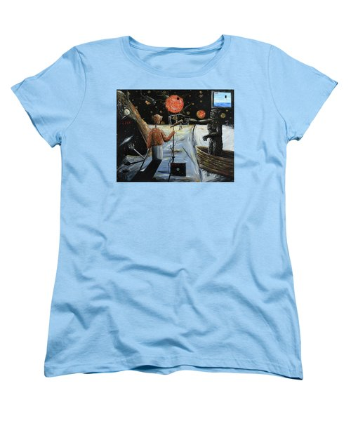 Women's T-Shirt (Standard Cut) featuring the painting Solar Broadcast -transition- by Ryan Demaree
