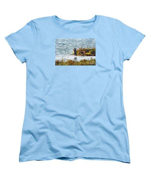 Solitary Heron Women's T-Shirt (Standard Cut) by Audrey Van Tassell