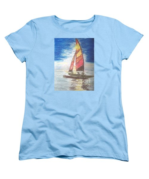 Women's T-Shirt (Standard Cut) featuring the painting Solo Ride by Trilby Cole