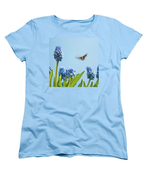 Something In The Air: Peacock Women's T-Shirt (Standard Cut) by John Edwards