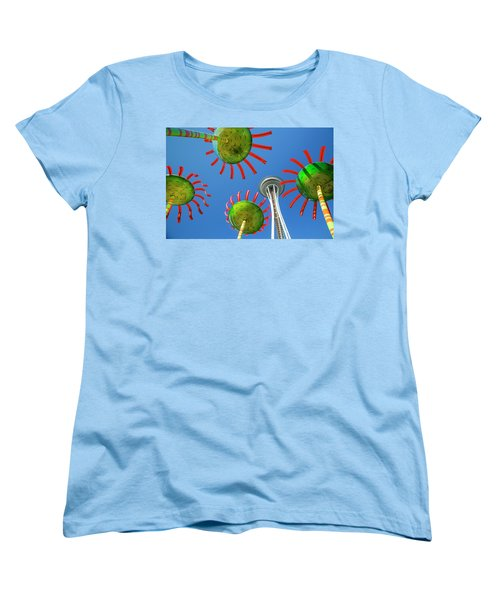 Women's T-Shirt (Standard Cut) featuring the photograph Sonic Bloom In Seattle Center by Adam Romanowicz