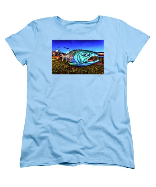Soul Salmon During Blue Hour Women's T-Shirt (Standard Cut) by Rob Green