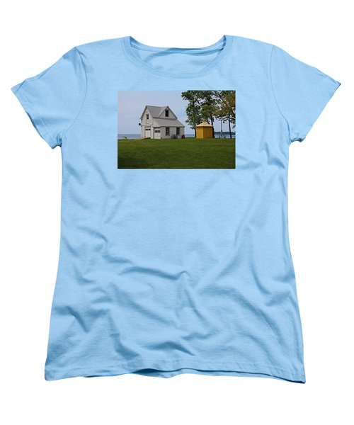 South Bass Island Lighthouse Barn And Oil Storage Building I Women's T-Shirt (Standard Cut) by Michiale Schneider